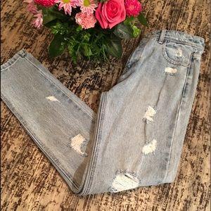 "Zara TRF Premium Wash Distressed Jeans, ""Mom Fit"""